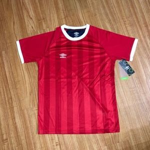 Vertical Stripe Red Soccer Jersey from Umbro, M